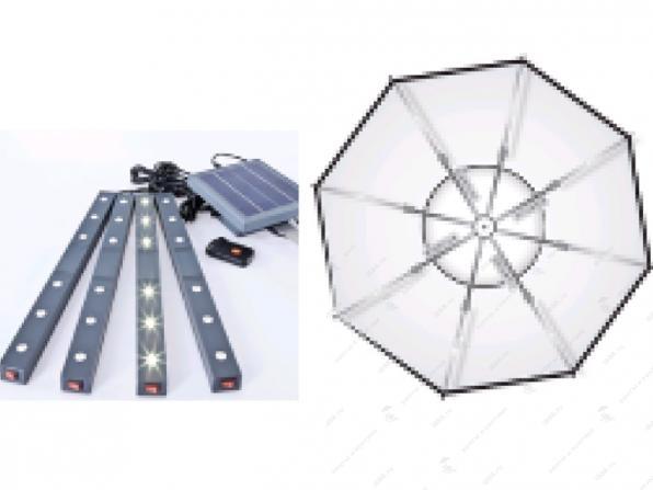 Parasol eclairage solaire
